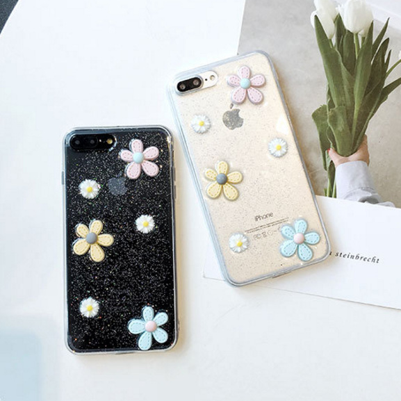 Small fresh glitter flowers Daisy iP 8PLUS Apple 6S / Apple X Epoxy Mobile Shell Transparent All-inclusive Cute
