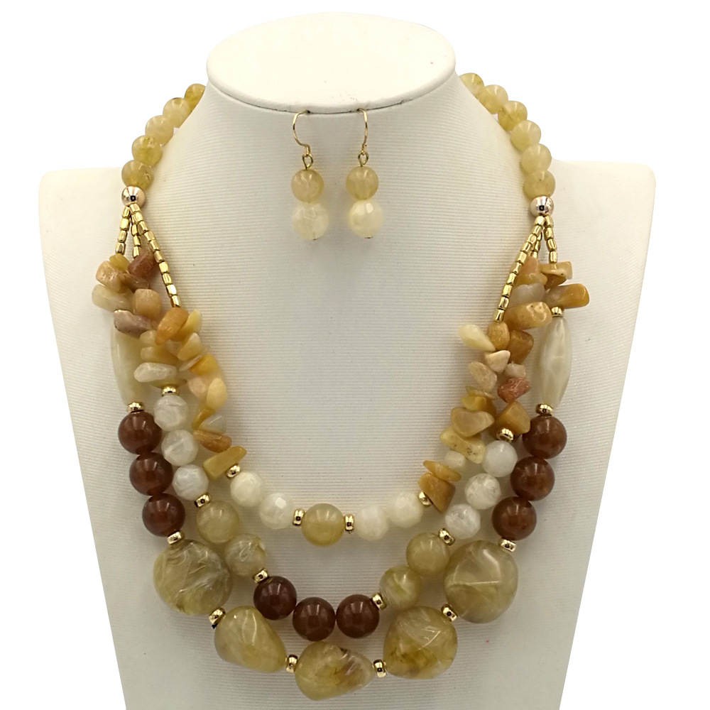Occident and the United States Resinnecklace (creamy-white)NHCT0056-creamy-white