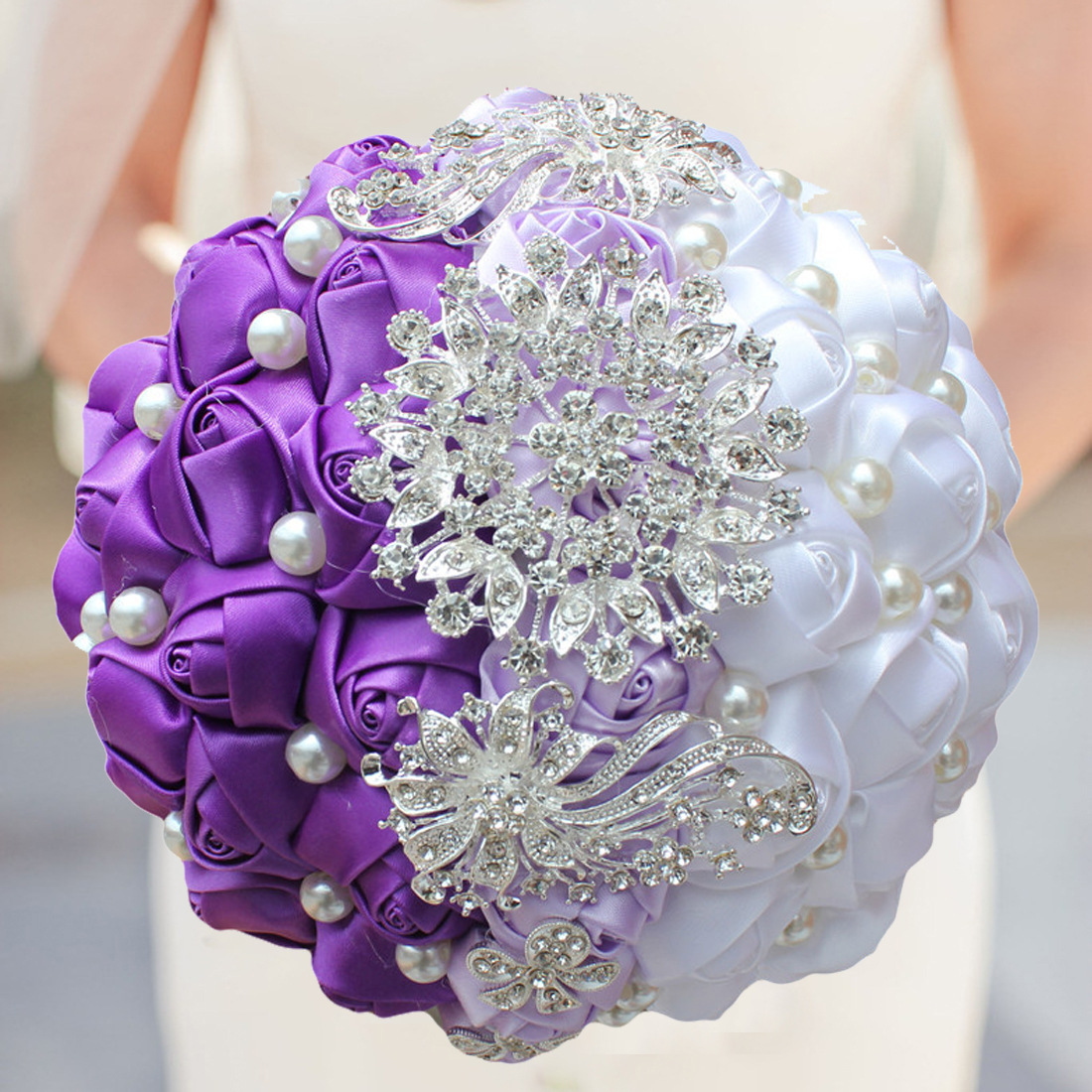 Wedding Flowers Website: Artificial Wedding Bouquets Handmade Ribbon White Purple