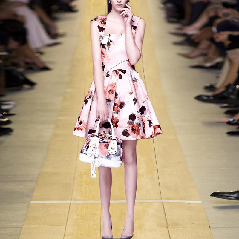 2017新款欧洲站夏季欧美女装气质修身显瘦裙子低领无袖印花连衣裙