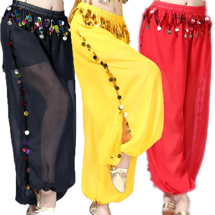 Women Belly dance sequined performance pants Indian dance bloomers indian belly dance practice sequined wide-leg pants