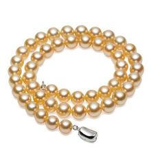 南珠世家9.0-12.0mm南洋金珠项链   14k金项链 天然海水珍珠项链