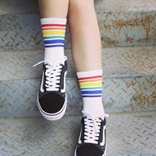 韩国INS潮流港风简约条纹黑白百搭长筒薄款棉袜子 春夏季男女长袜