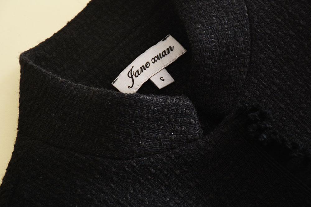 0806-11 黑色粗花呢套裝顏色黑色SMLXL碼285 (