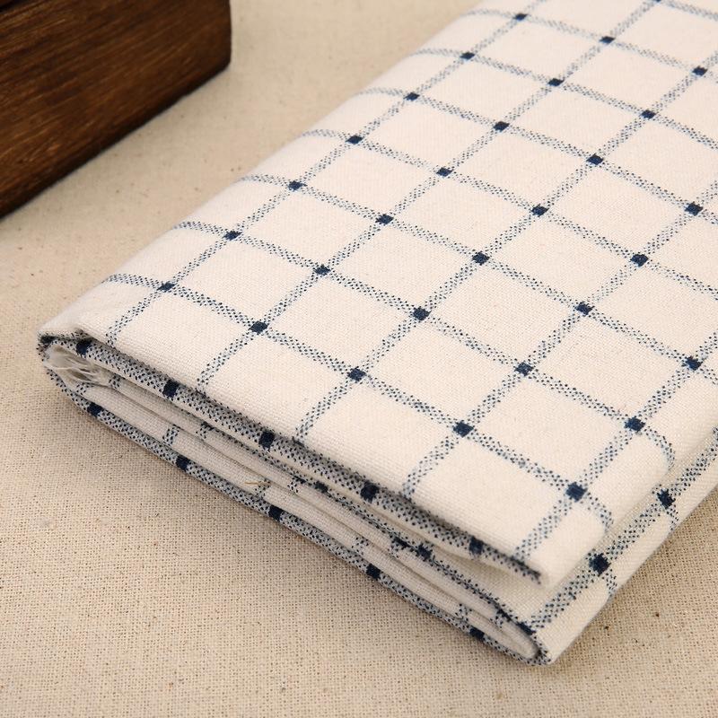厂家直销经典风格格子棉麻布料桌布窗帘抱枕沙发面料家居布艺现货