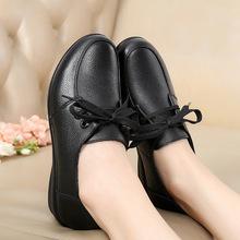 新款软底休闲女鞋牛皮单鞋子平底防滑妈妈鞋女士皮鞋厂家直销批发