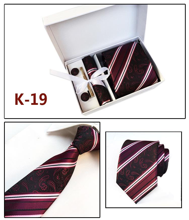 厂家批发男士领带现货礼盒6件套装团体领带商务正装领带定制