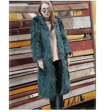 欧美皮草 新款特欧洲站卖仿狐狸毛连帽大衣中长款外套连帽女装