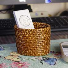 忆园竹藤天然藤编创意笔筒花瓶摆件遥控器盒手机座卡包收纳篮