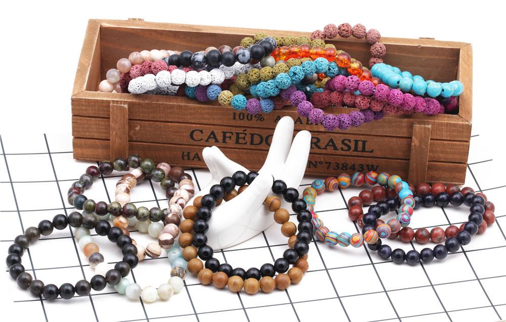 Natural Stone Fashion bolso cesta bracelet  (Blue pine) NHYL0363-Blue-pine