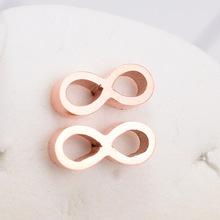 E114 歐美百搭8字玫瑰金耳釘韓國18K防過敏女款情侶耳環時尚首飾