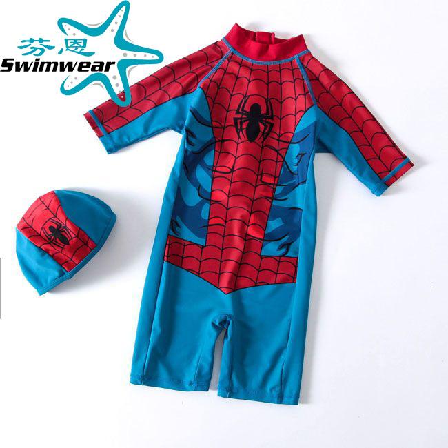 儿童泳衣男童蜘蛛图案宝宝连体游泳衣可爱韩国宝宝泳衣