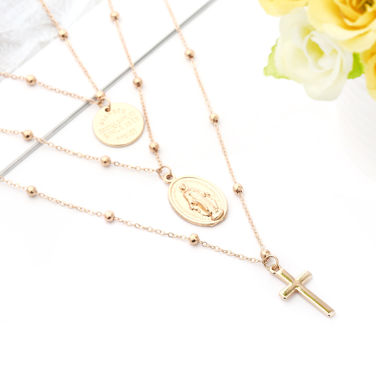 Fashion style, geometric metal sequins, multi-layer Womens geometric plating alloy without Necklaces XR190419118385