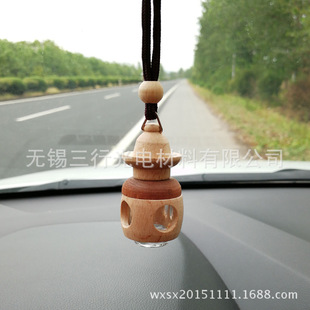 2018 new wooden art car perfume pendant essential oil empty bottle car accessories rearview mirror car hanging perfume bottle wholesale