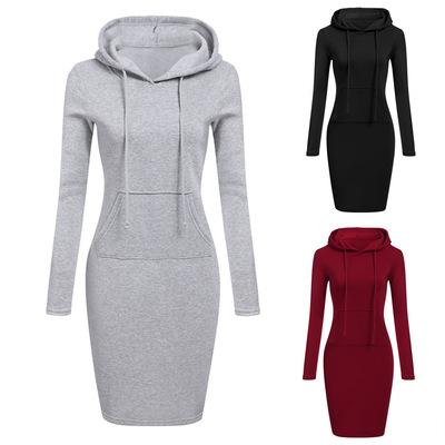 欧美外贸女装新款速卖通中长款连帽卫衣