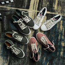 新款ulzzang帆布鞋女原宿学生韩版潮百搭平底布鞋休闲鞋子小白鞋