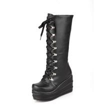 外貿高筒靴女高跟靴子側拉鏈松糕底靴休閑秋冬季大小碼31-43長靴