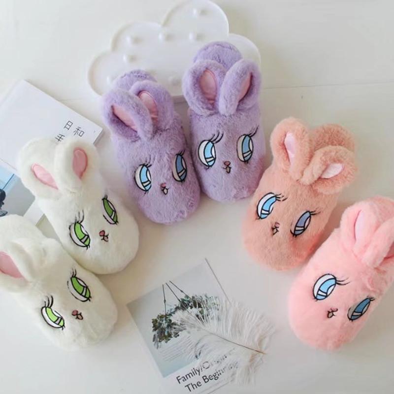 可爱卡通毛绒绒兔子保暖露指大眼睛拖鞋居家室内鞋棉拖女