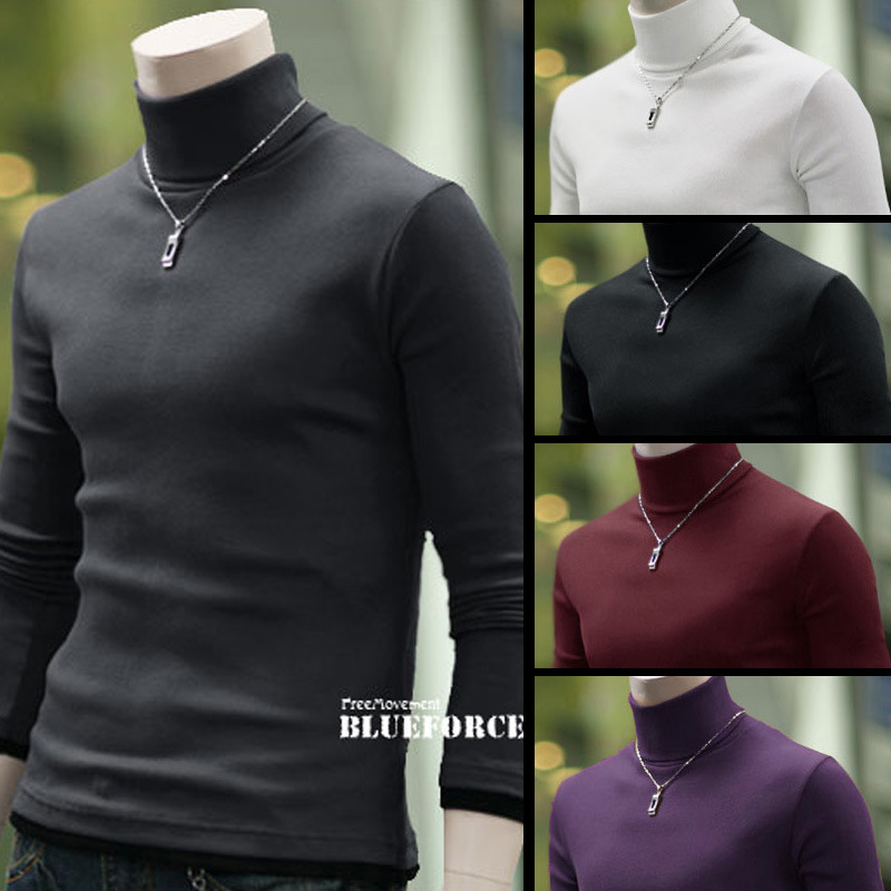 Men's and men's spring new high collar bottomed t-shirt men's Korean slim solid color fake two piece Pullover