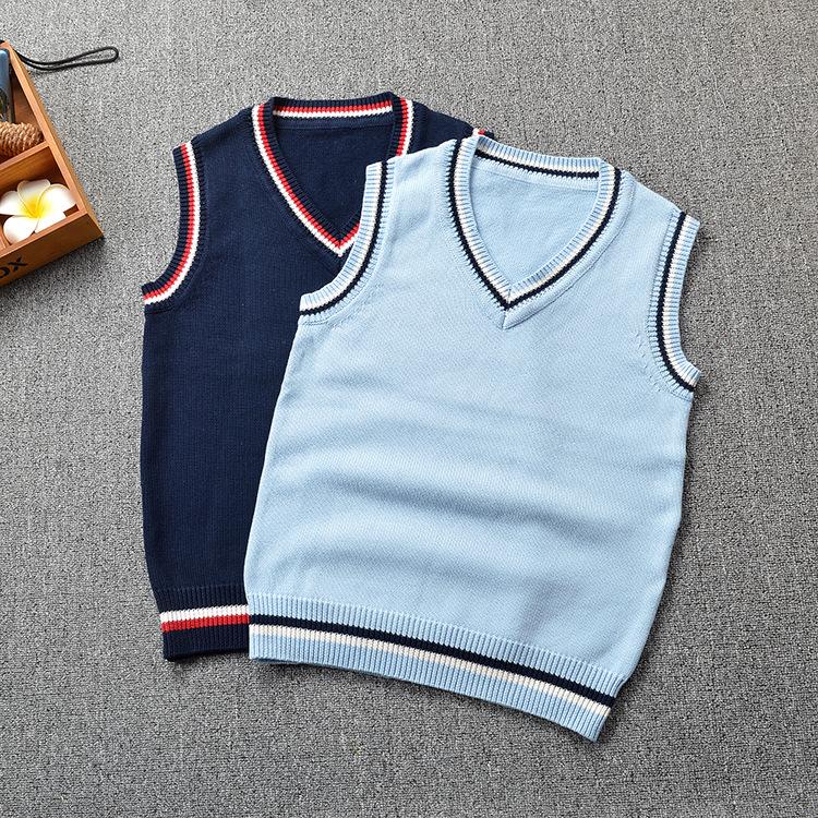 新款JK制服V领纯棉拼色男女同款学院英伦风毛衣背心