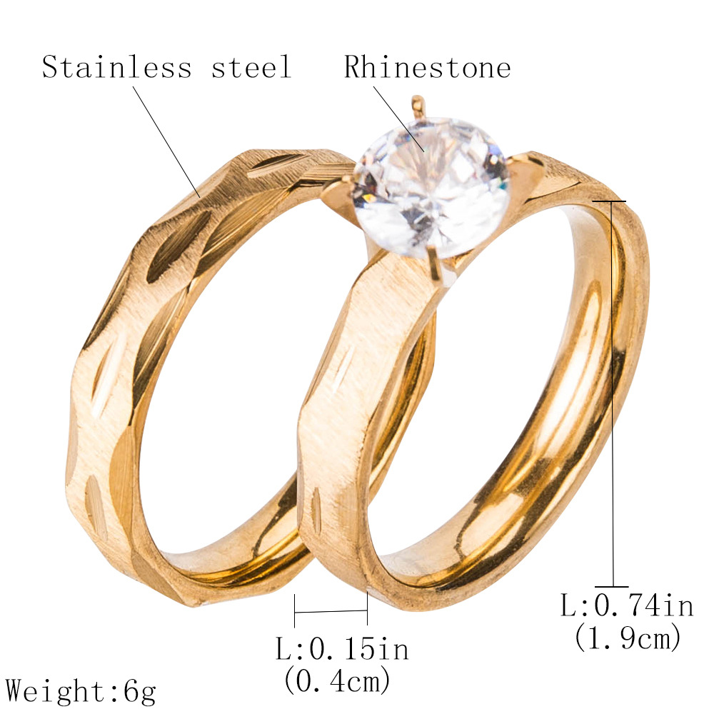 Occident and the United States stainless steelRing (Gold -19 (1.9cm))NHJE0499-Gold -19 (1.9cm)