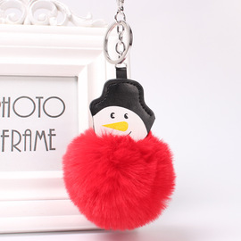 Cartoon Snowman Ball Keychain Creative Key Accessories Bag Pendant PU Leather Keychain Pendant