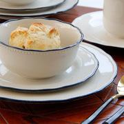 创意欧式复古浅灰色蓝边花边陶瓷西式餐具套装碗牛排盘马克杯