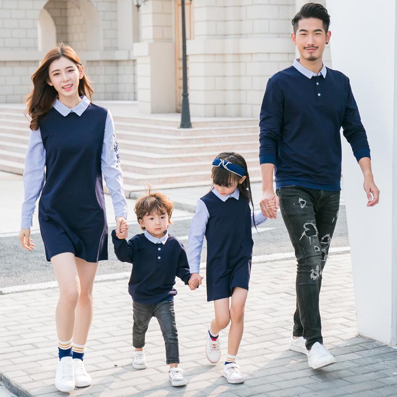 亲子装一家四口全家装假两件母子母女洋气连衣裙2020春秋新款韩版