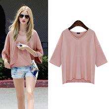 夏季新款五分袖T恤女纯色中袖200斤胖mm宽松V领大码打底衫百搭上