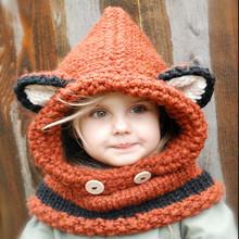 狐狸帽子秋冬歐美外貿兒童毛線針織帽手工編織保暖護耳斗篷帽男女