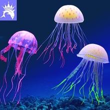 鱼缸装饰造景 智洋水母 仿真灯塔海悦水母 水族硅胶夜光水母 外贸