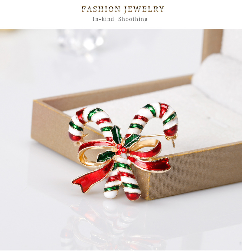 New Christmas series brooch fashion double crutches brooch clothing accessories wholesale NHDR179485