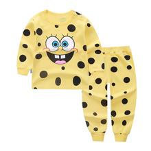 兒童秋衣秋褲純棉套裝長袖T恤男女童家居服海綿寶寶保暖一件代發