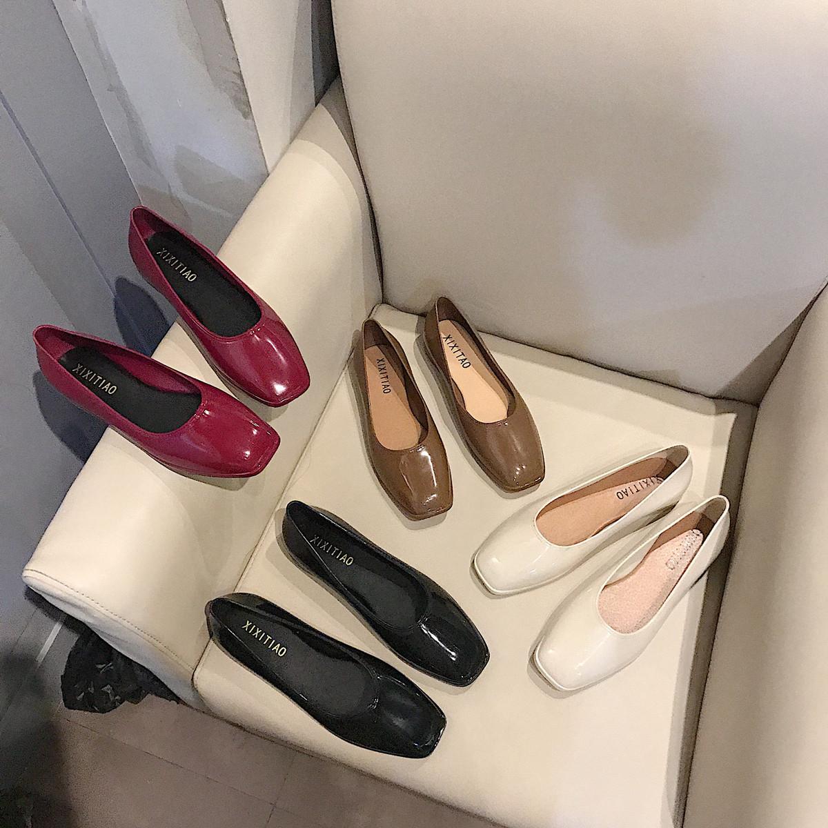 2019新款复古方头浅口单鞋女奶奶鞋纯色休闲平底鞋防滑软底豆豆鞋