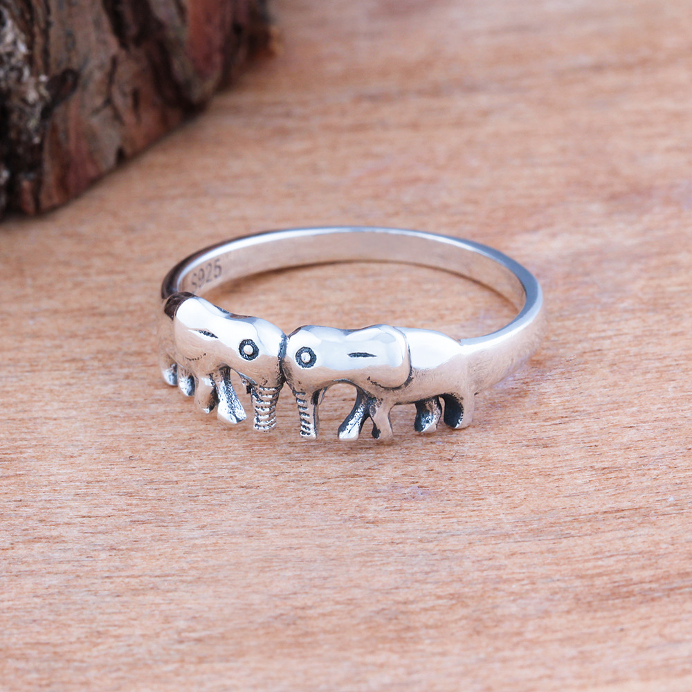 S925 Rings For Women Couple Of Elephant Sterling Silver Ring Thai ...