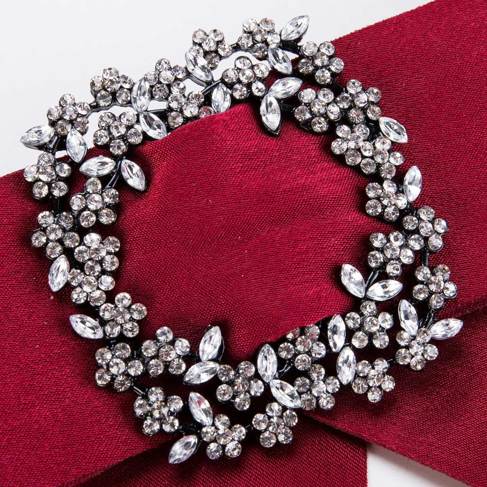 Fashion Alloy Rhinestone Necklace Flowers (red)  NHJE0914-red