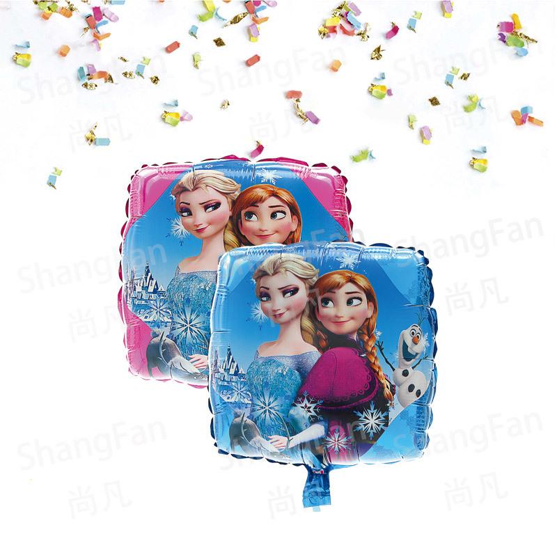 厂家批发铝膜气球卡通18寸正方形冰雪公主儿童生日派对独立包装