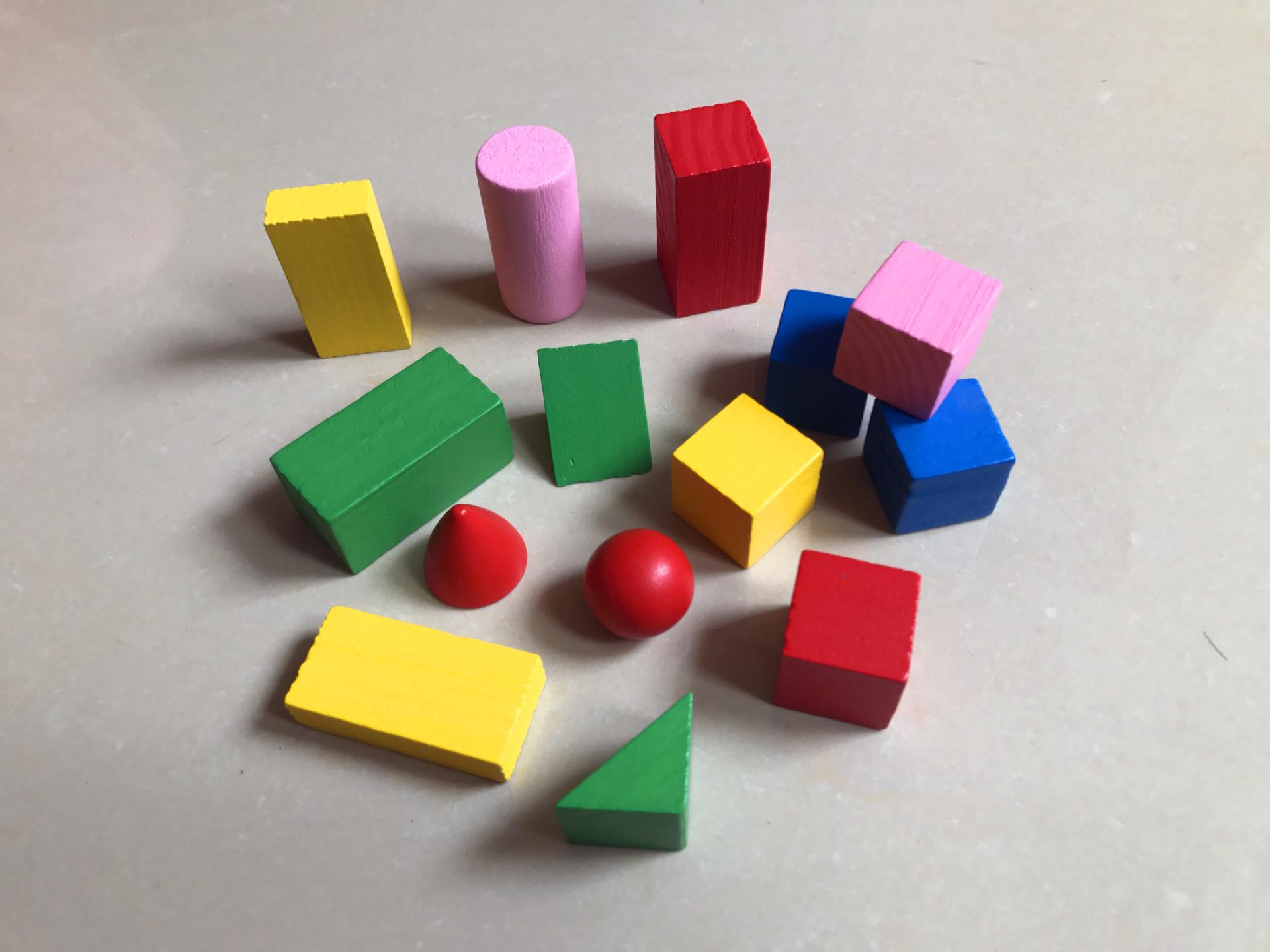 几何体积木木制彩色几何积木 木质方块厂家直销