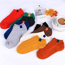 日系双针粗线女船袜复古布贴订定标袖标短袜夏季厚纯棉袜子批发