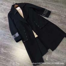 歐洲站 歐美外貿精品女款混紡拼羊皮大衣