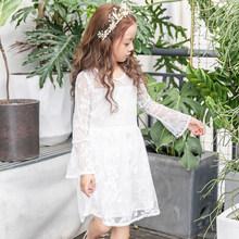 女童公主裙蕾丝儿童连衣裙秋季新款喇叭袖纯白春秋欧美风 童装in