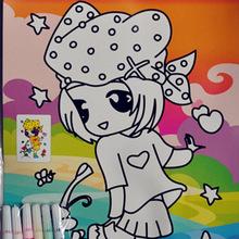 厂家批发DIY儿童水彩画六支笔画3D填色壁画平面水彩画