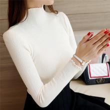 秋冬新款长袖韩版修身内搭半高领短款毛衣女套头木耳边针织打底衫