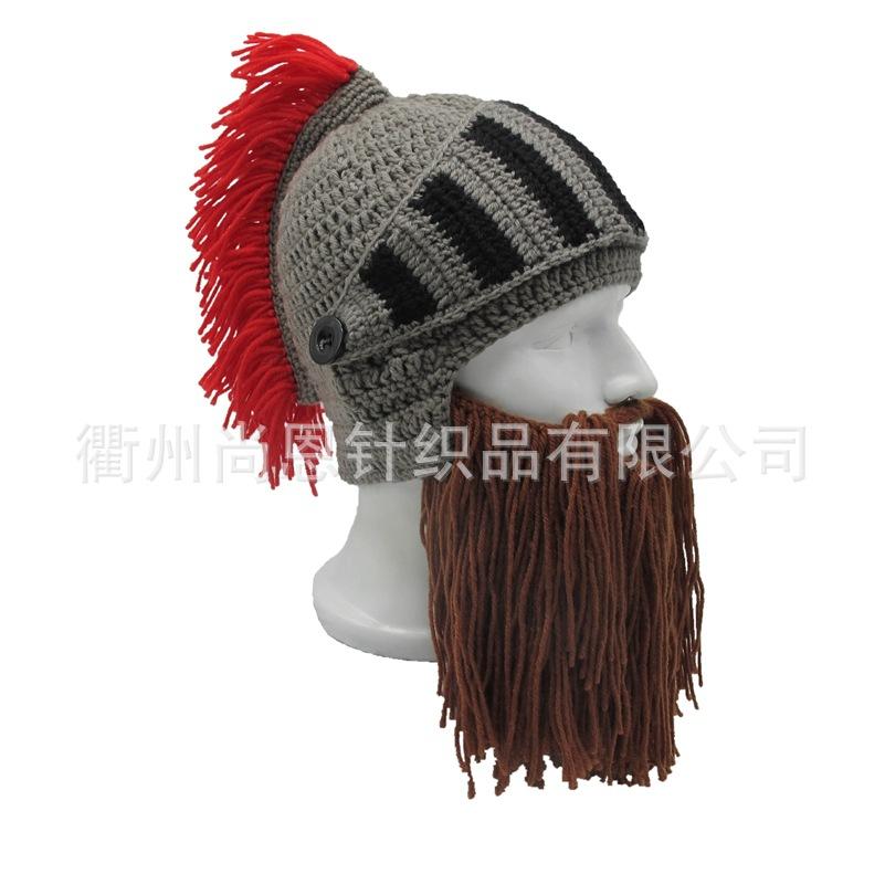 搞怪创意热销保暖护耳纯手工钩织大胡子红冠罗马帽骑士帽头盔造型