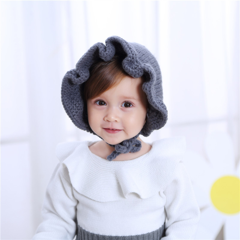 055c2607e 2019 Newborn Baby Girls Hat Princess Flower Caps Winter Knitted Hat ...