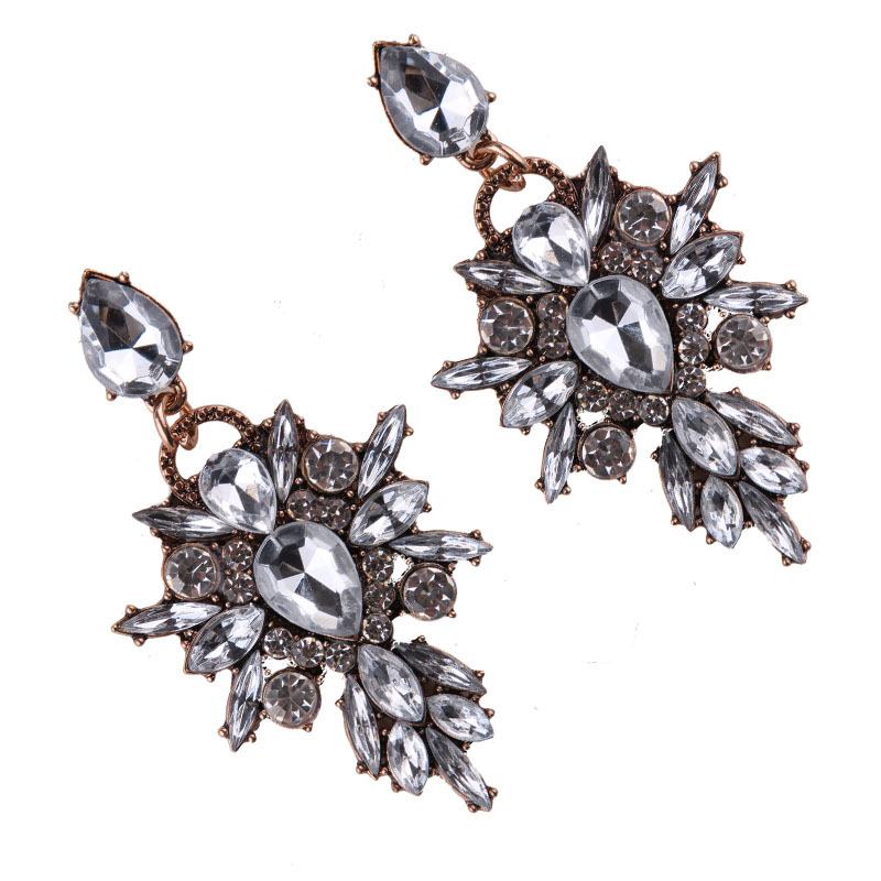 Occident and the United States alloy Rhinestone earring (Blue and yellow)  NHJQ7650