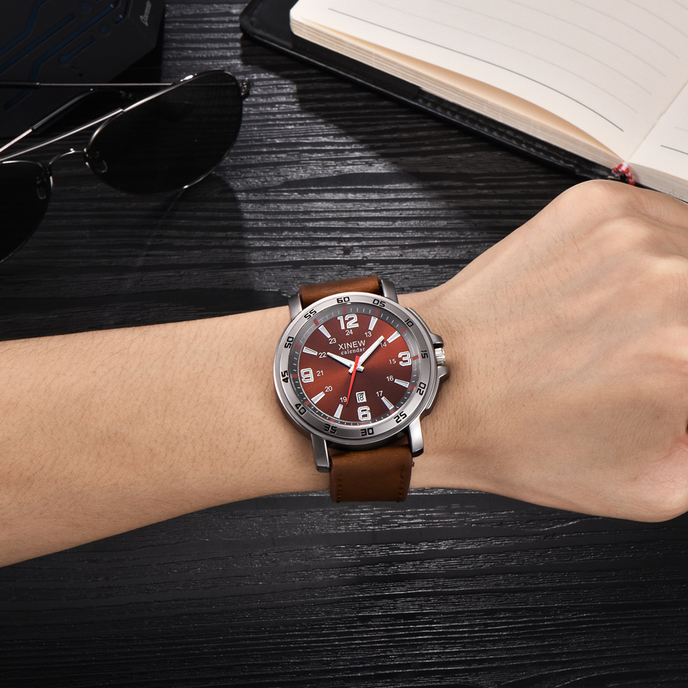 Xinew Brand Watches Mens Leather Date Business Wristwatches