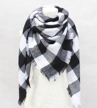 2018秋冬新款格子圍巾女士歐美大牌仿羊絨圍巾 大方巾披肩