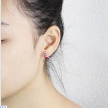 可爱红色爱心桃心耳环饰品S925纯银创意珐琅长款耳坠