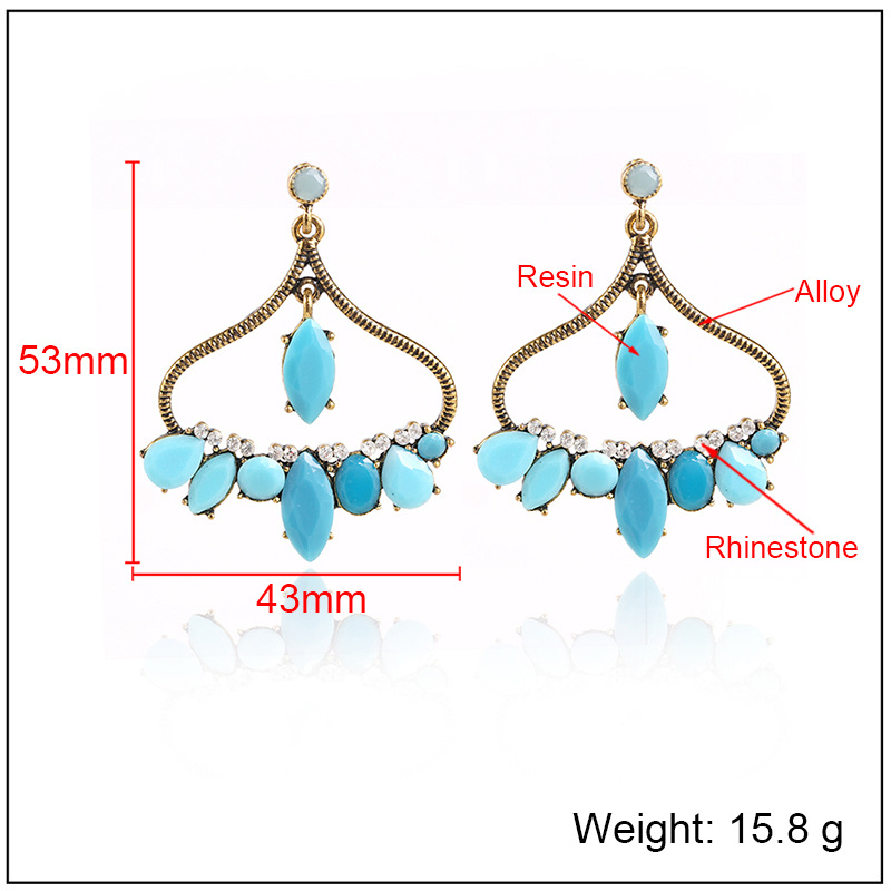 Fashion Alloy Rhinestone earring Geometric (Alloy red)  NHKQ1436-Alloy red